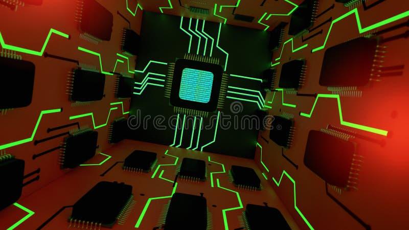 与计算机芯片的抽象背景 向量例证