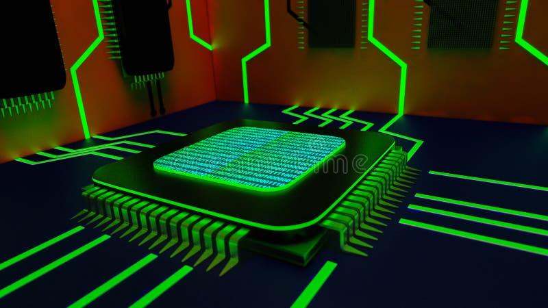 与计算机芯片的抽象背景 皇族释放例证