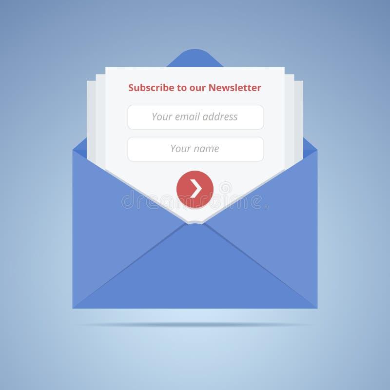 与订阅表单的蓝色信封在平的样式 向量例证