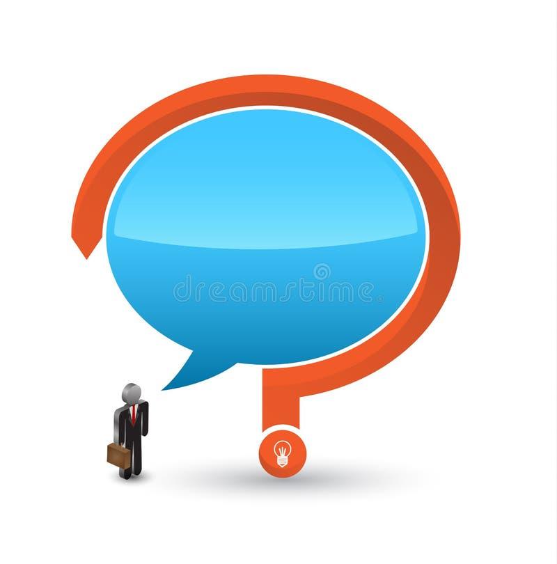 与讲话和问号的商人3D象 库存例证