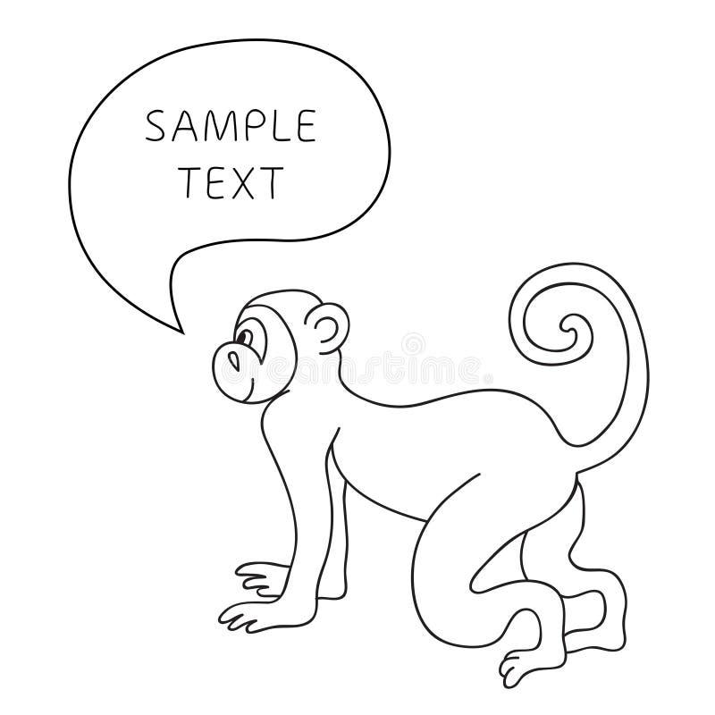 与讲话泡影的传染媒介滑稽的猴子 与手拉的猴子和泡影讲话的例证卡片 库存例证