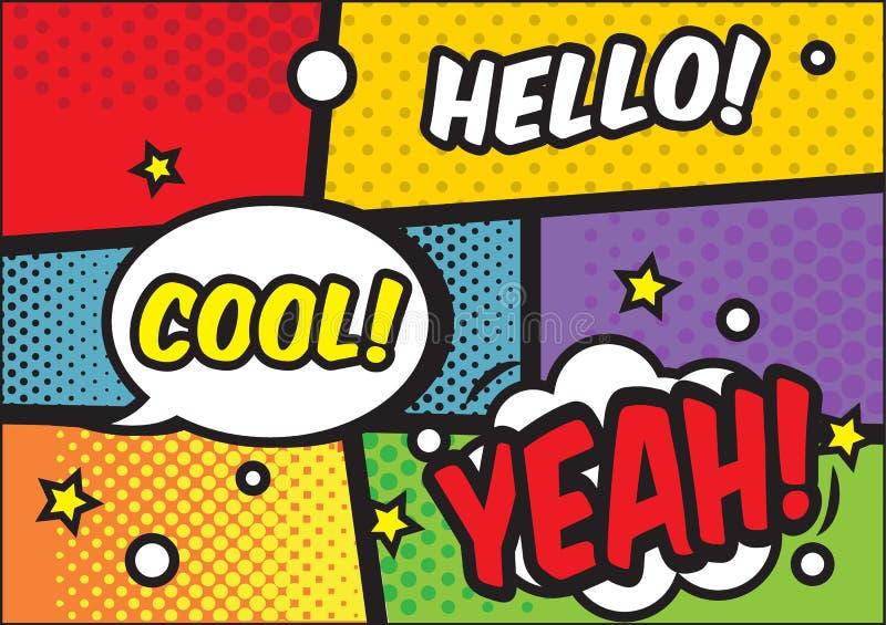 与讲话泡影的漫画书页 五颜六色的流行艺术传染媒介背景设计模板 皇族释放例证