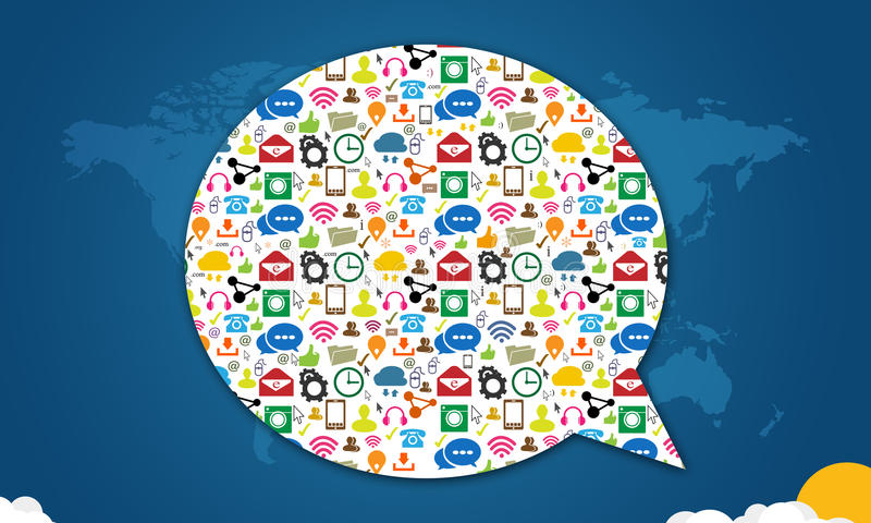 与讲话的社会媒介象在蓝色起泡 向量例证