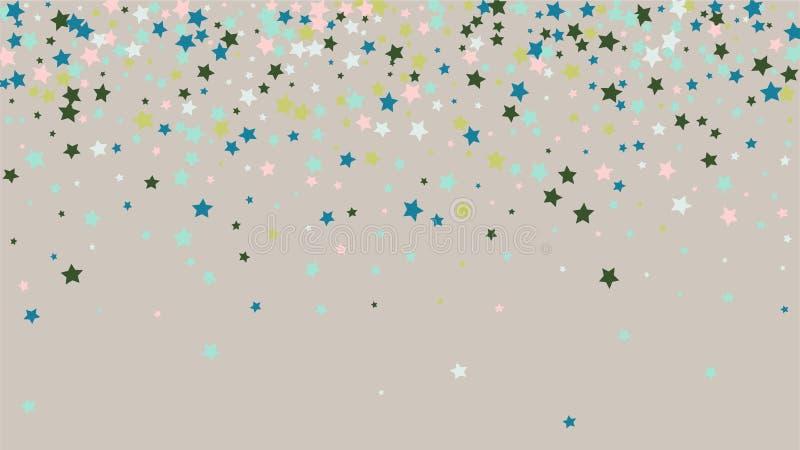 与许多任意落的金黄星五彩纸屑的抽象背景在背景 皇族释放例证