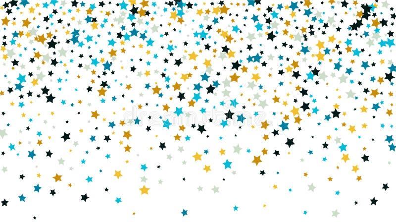 与许多任意落的金黄星五彩纸屑的抽象背景在背景 库存例证