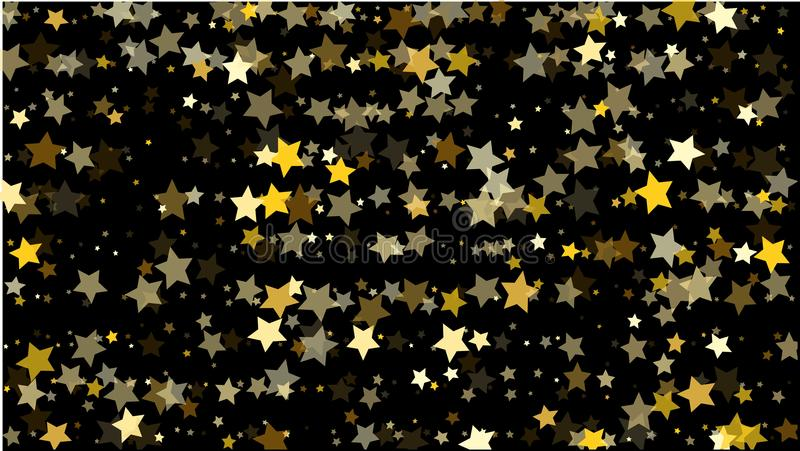 与许多任意落的黄色星五彩纸屑的抽象背景 背景横幅小鸟晒衣夹夫妇设计重点例证您邀请的文本 库存例证