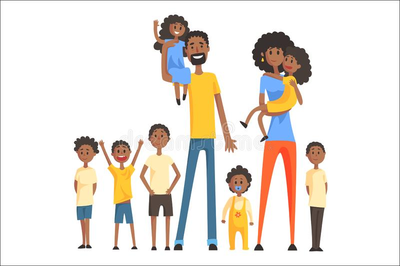 与许多儿童画象的愉快的黑家庭所有孩子和婴孩微笑的父母五颜六色的例证 皇族释放例证