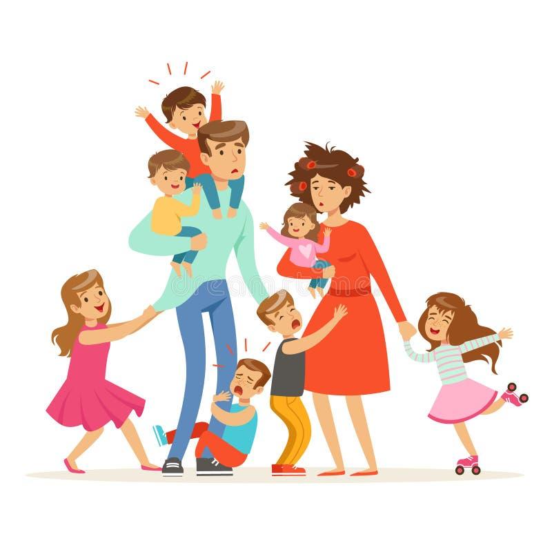 与许多孩子的大家庭 孩子、婴孩和他们疲乏的父母导航例证 库存例证