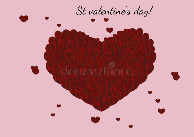 与许多小心脏的美好的抽象红色心脏里面在桃红色背景 向量例证