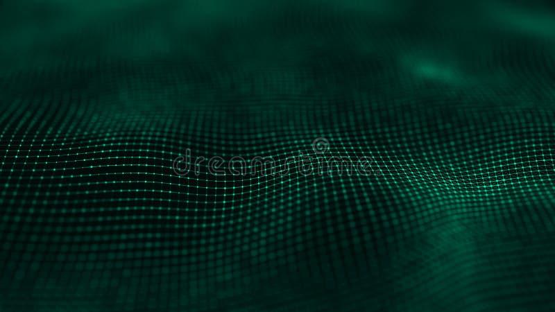 与许多小点和线的波浪表面 E 3d?? 向量例证