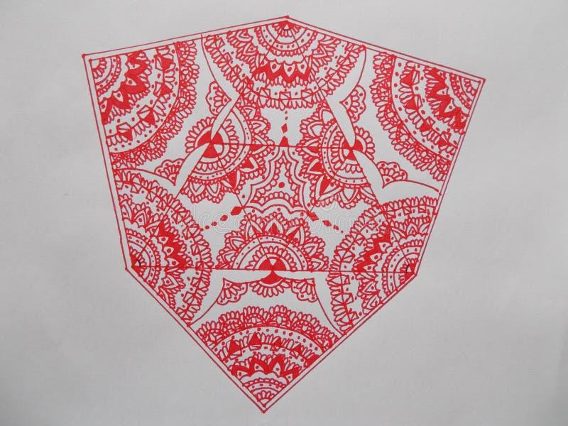 与许多形式的万花筒在红色 图库摄影