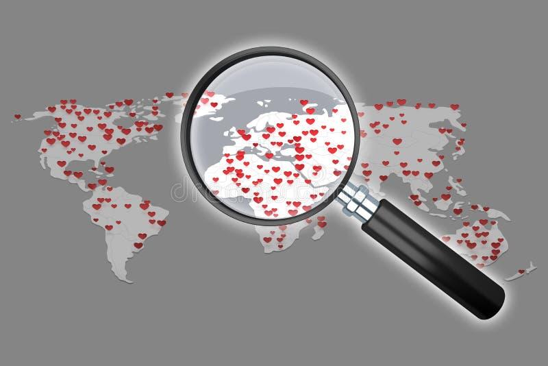 与许多心脏标志3d翻译的世界地图 向量例证