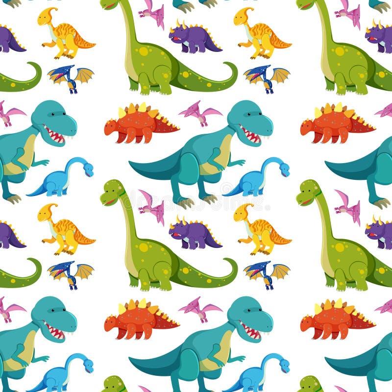 与许多恐龙的无缝的背景 库存例证