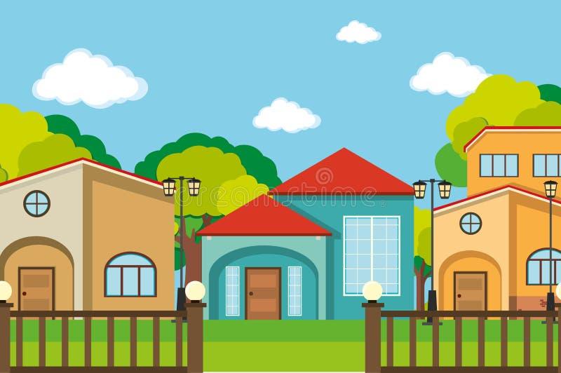 与许多房子的邻里场面 库存例证