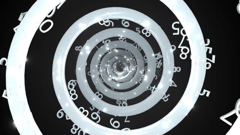 与许多数字的时间不尽的抽象螺旋,3d回报计算机生成的背景 皇族释放例证