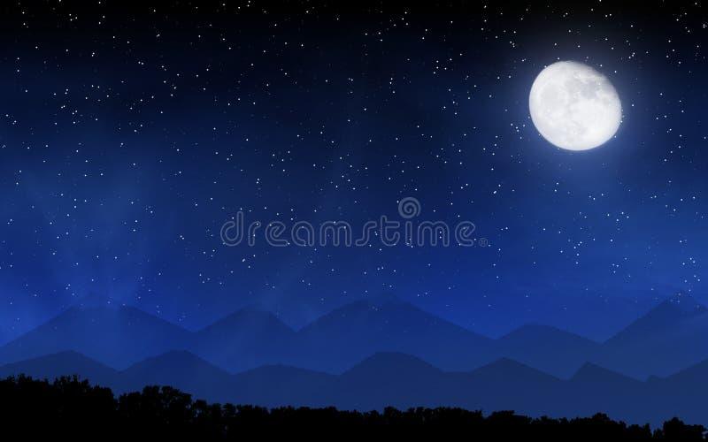 与许多星和月亮的深夜天空 免版税库存图片