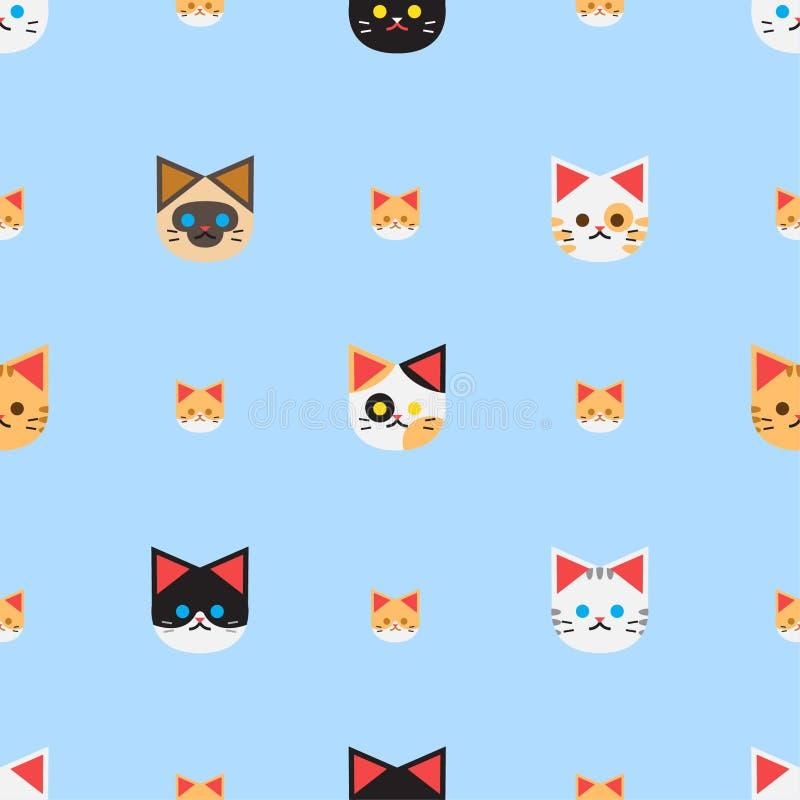 与许多猫的无缝的样式背景和蓝色背景,传染媒介集合 皇族释放例证