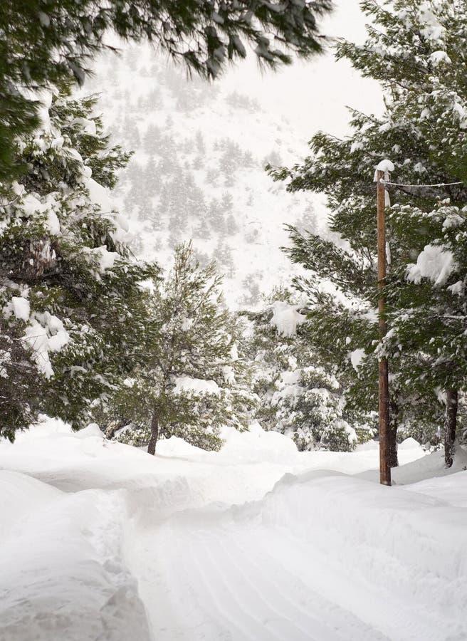与许多的全景美妙的冬天雪和雪漂泊在Evia,希腊海岛上的希腊村庄  免版税图库摄影
