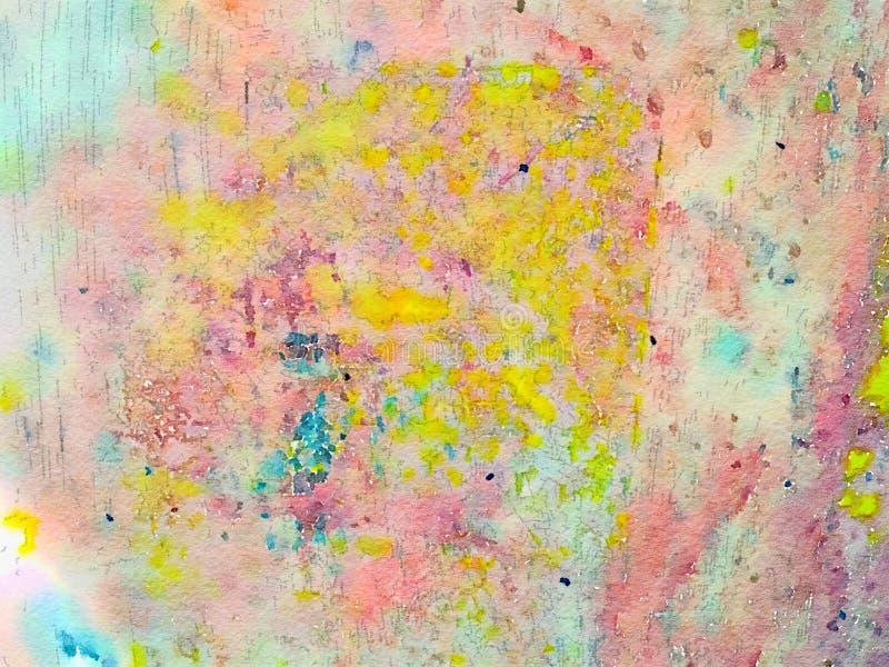 与许多的多色明亮的抽象水彩背景纹理 皇族释放例证