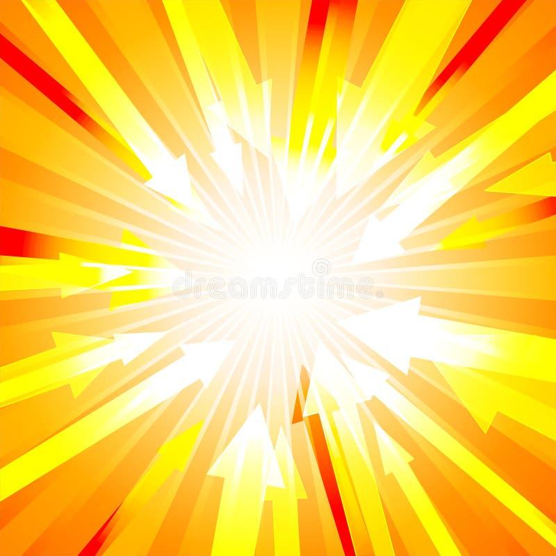 与许多的桔子爆炸箭头从抽象设计背景概念中心 向量例证