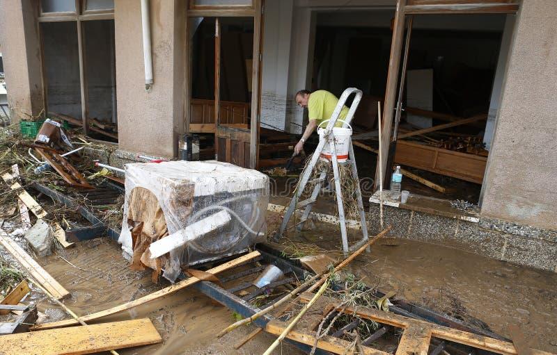 与许多的洪水在海岛马略卡在圣Llorenc杀害了人 图库摄影