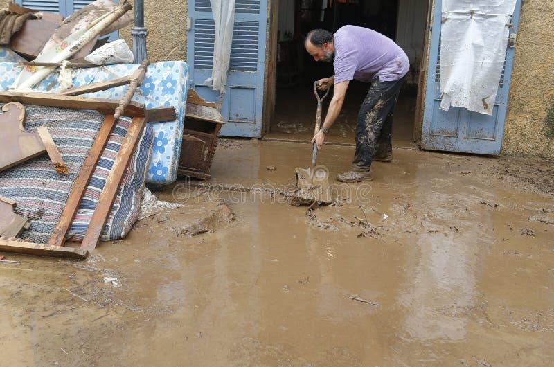与许多的洪水在海岛马略卡在圣Llorenc杀害了人 免版税库存照片