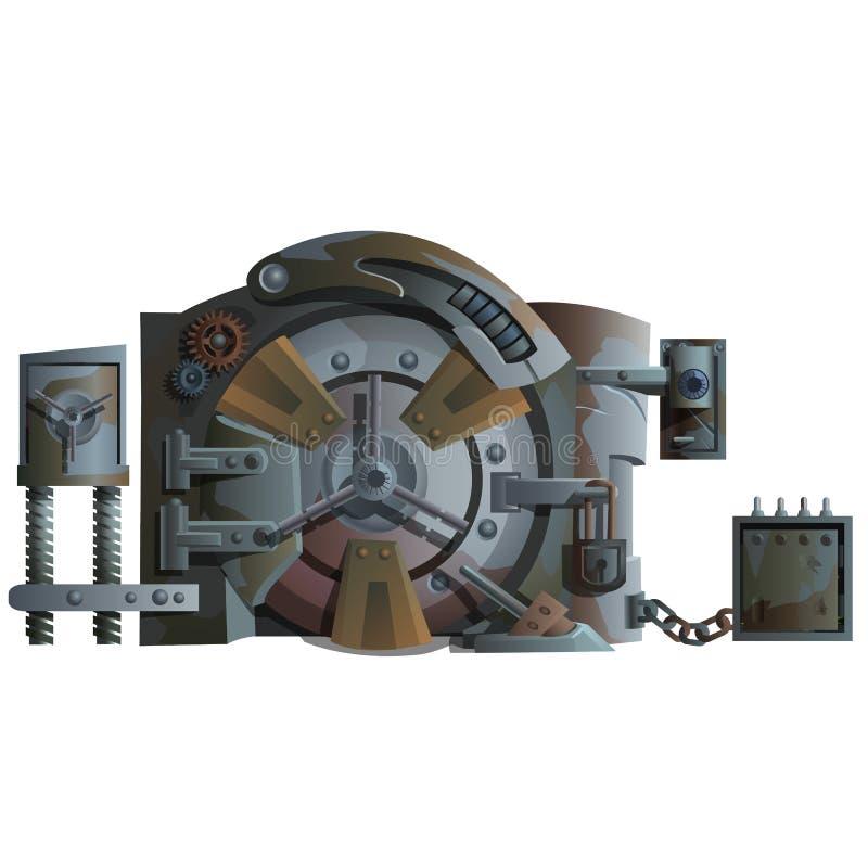 与许多的生锈的老银行门锁 向量例证