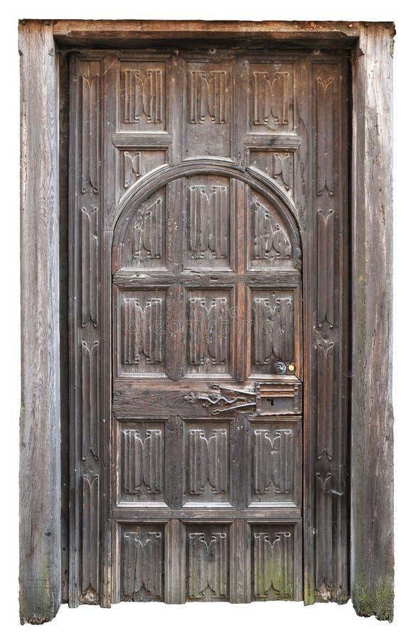 与许多的老中世纪木门无比喻照相凹板 免版税图库摄影