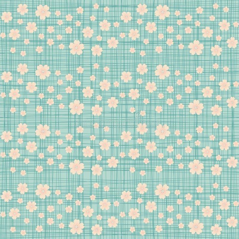 与许多的逗人喜爱的无缝的样式重复的樱桃开花 向量例证