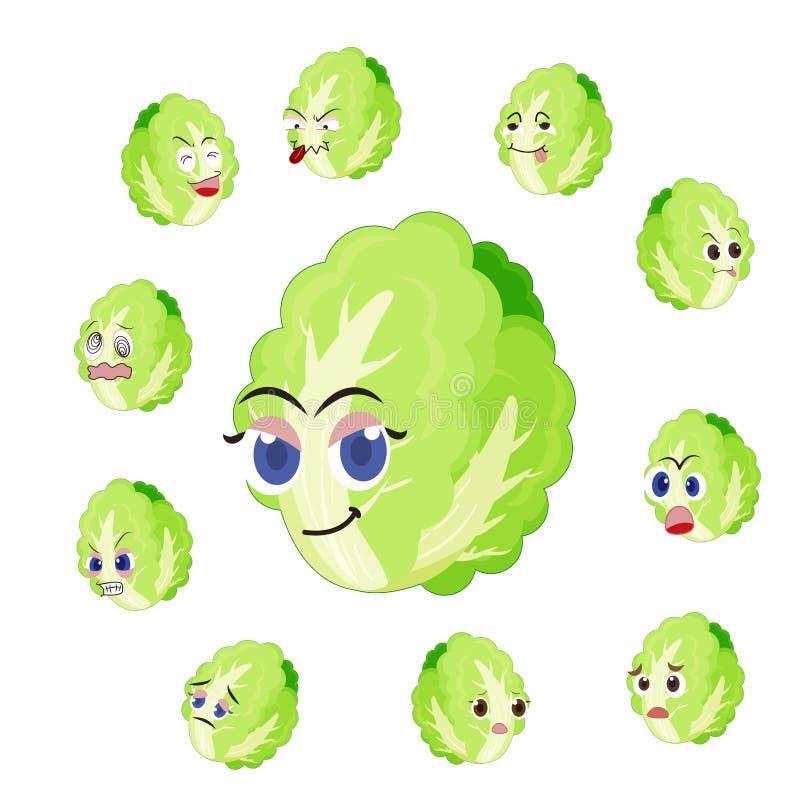 与许多表达式的大白菜动画片 免版税库存图片