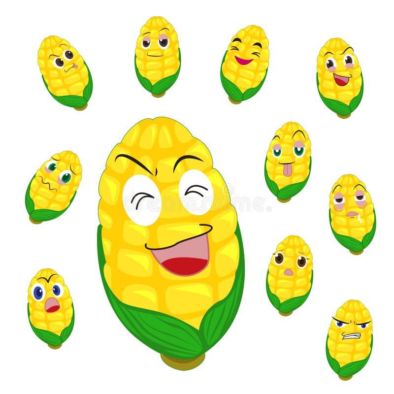 与许多表达式的玉米动画片 库存例证