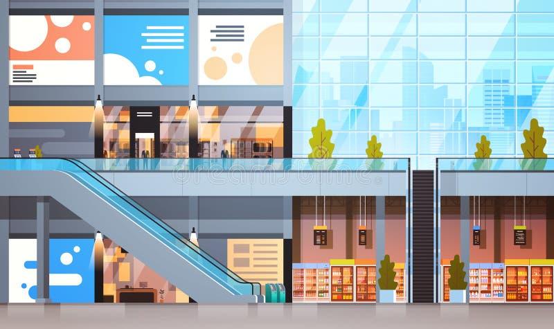 与许多购物和超级市场空的内部的现代零售店没有人民 向量例证