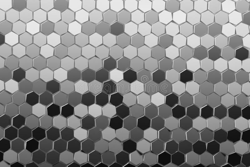 与许多重复的任意色的六角形的抽象例证在灰色,黑,白色颜色 皇族释放例证