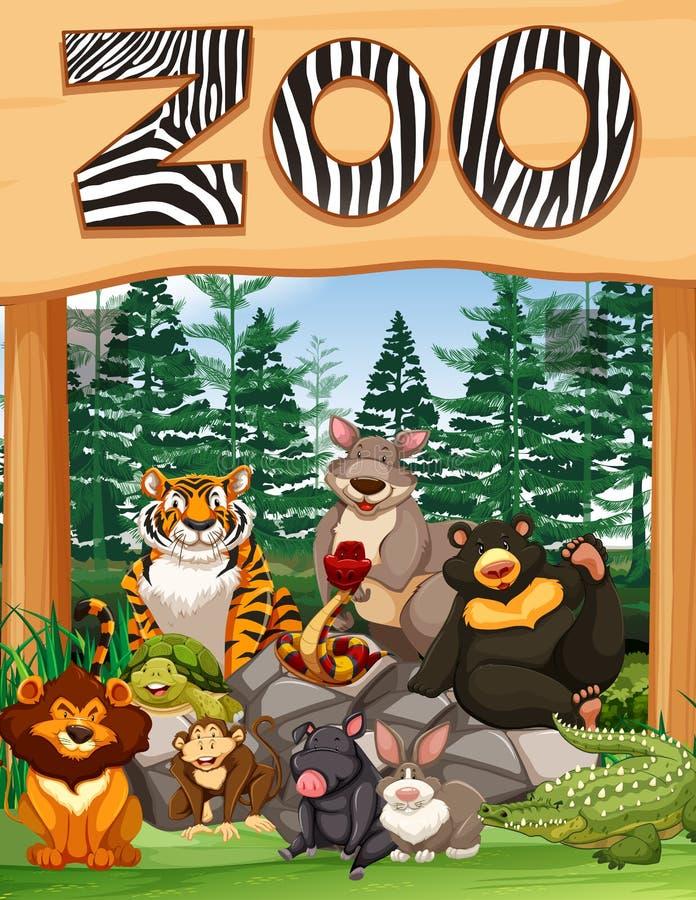 与许多野生动物的动物园入口在标志下 皇族释放例证
