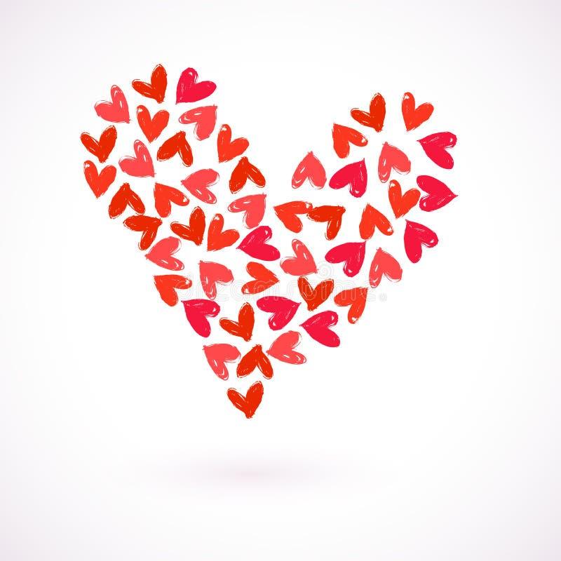 与许多水彩被绘的心脏的传染媒介卡片 向量例证