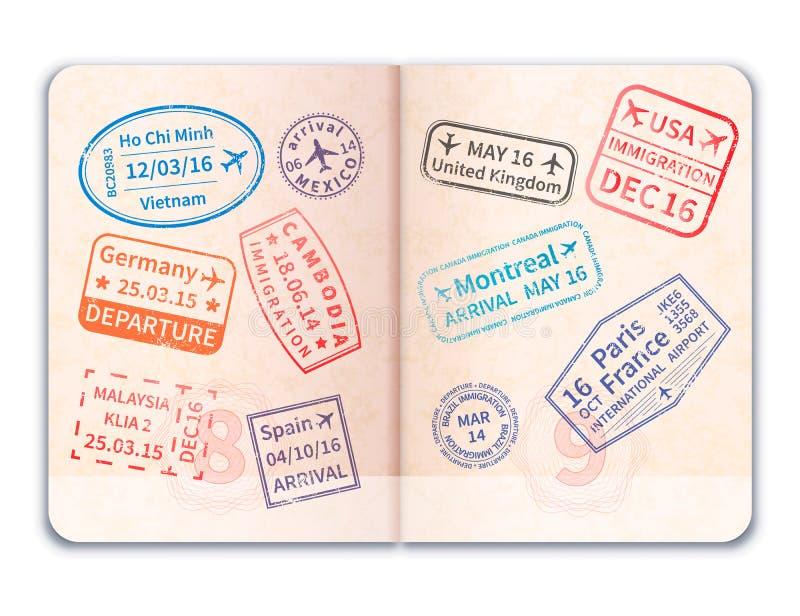 与许多移民邮票的现实开放外国护照 皇族释放例证