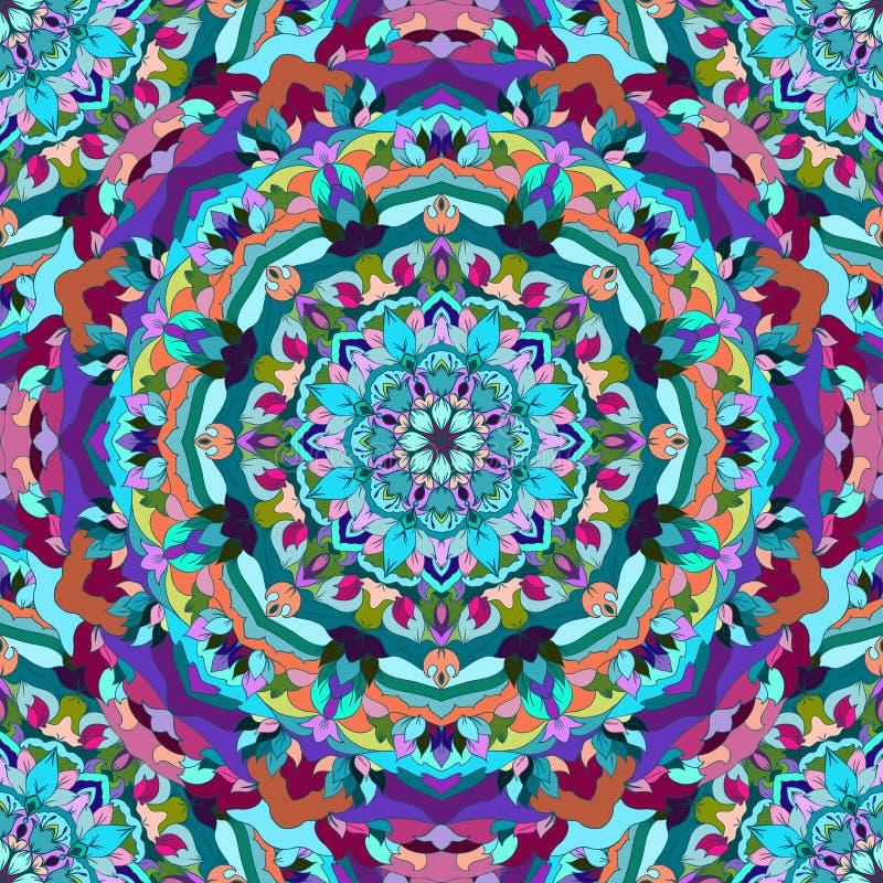 与许多细节的明亮的蓝色和紫色手图画装饰花卉抽象无缝的背景丝绸neckerchie设计的  皇族释放例证