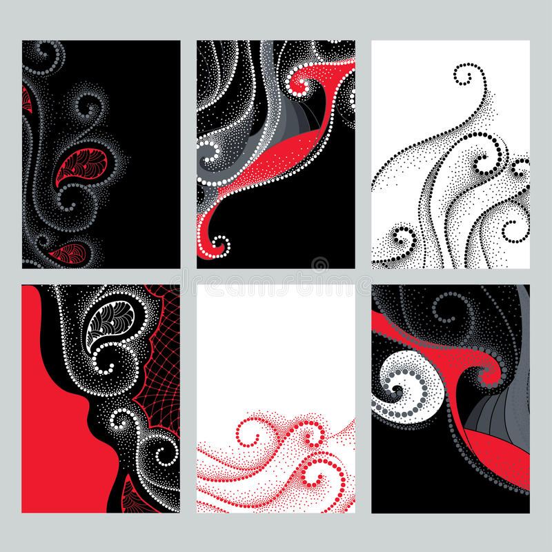 与设计例证的传染媒介集合在dotwork样式 被加点的高雅在卡片的红色,黑白颜色打旋 向量例证