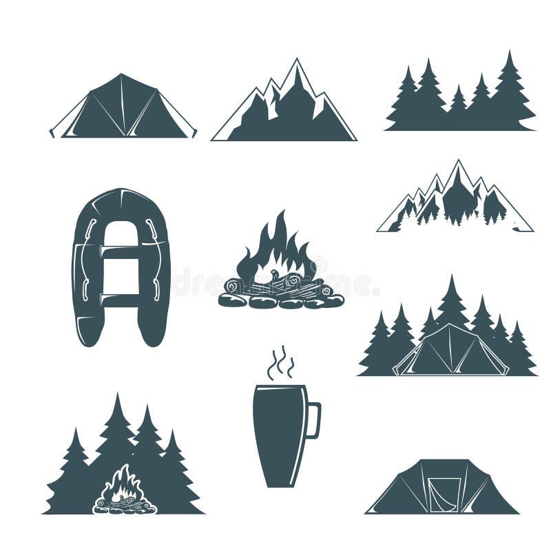 与设计元素的夏令营 野营和室外冒险象征 野营的帐篷,森林剪影 向量 库存例证