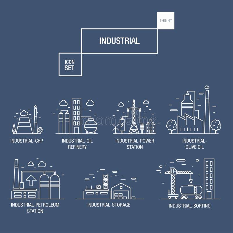 与设计元素气体,橄榄的大工业象集合,干净, 向量例证