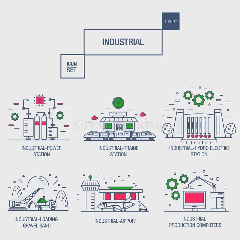 与设计元素气体,橄榄的大工业象集合,干净, 库存例证