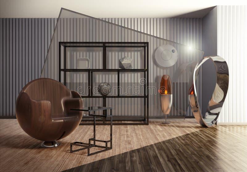 与设计师家具&现代艺术雕塑的霍尔内部 库存照片