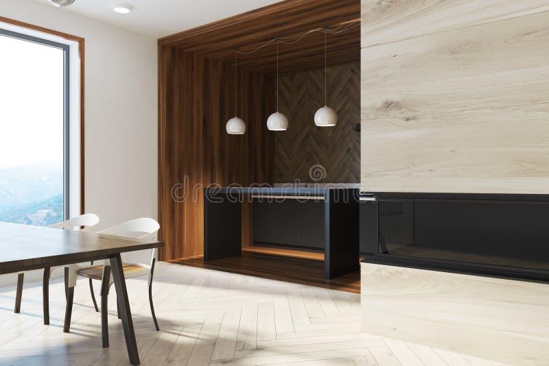 与设计的黑暗的木餐桌主持边 皇族释放例证