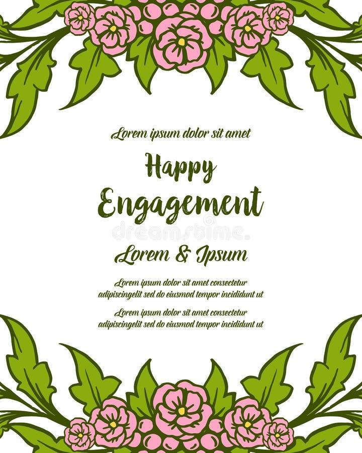与设计美好的花卉框架的传染媒介例证装饰愉快的订婚 皇族释放例证