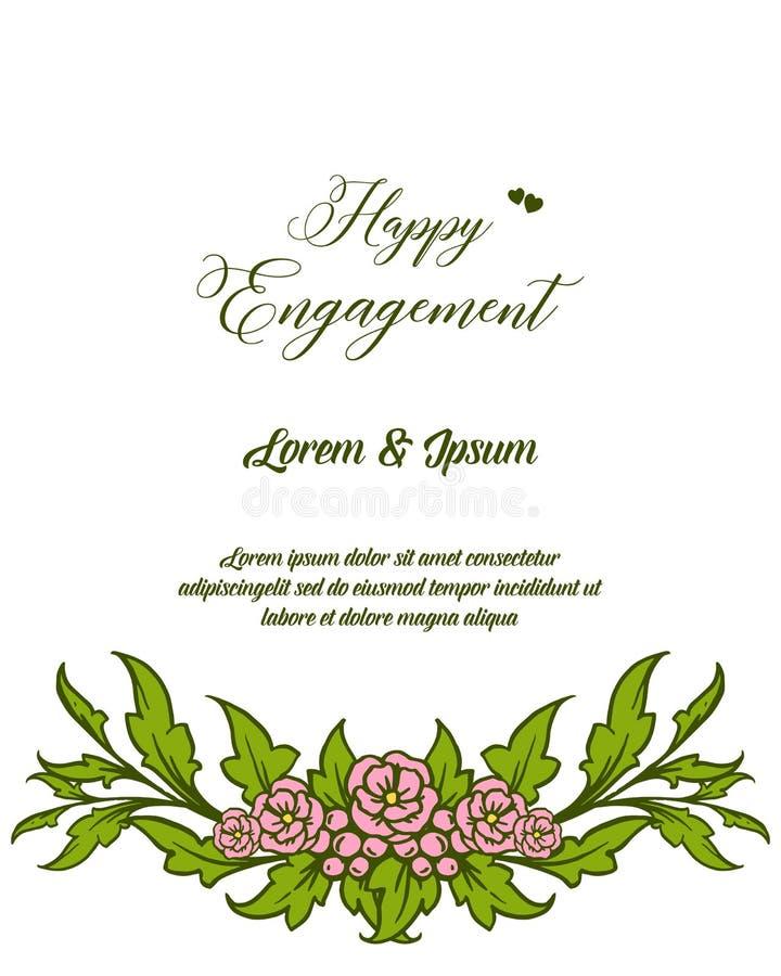 与设计美好的花卉框架的传染媒介例证装饰愉快的订婚 向量例证