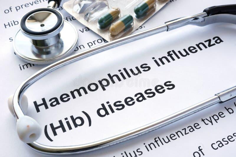 与诊断Haemophilus流行性感冒Hib的纸 库存图片