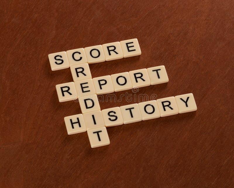 与词信用,历史,报告,比分的纵横填字游戏 _ 免版税图库摄影