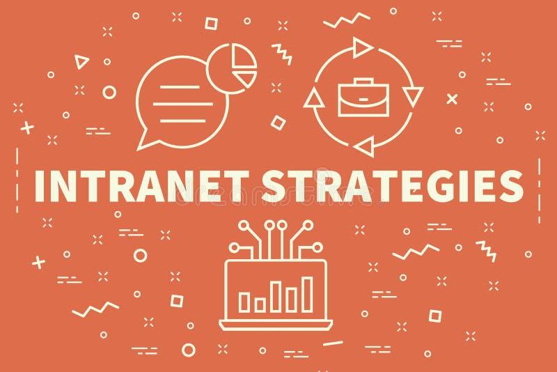 与词内部网strateg的概念性企业例证 皇族释放例证