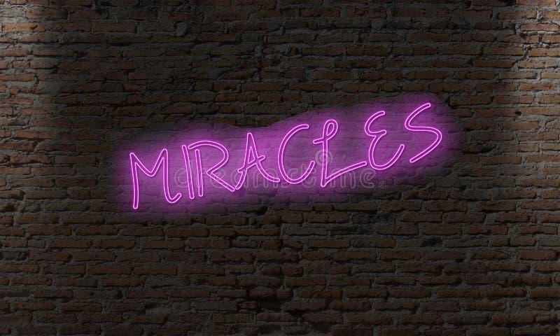 与词奇迹的霓虹信件标志 库存例证