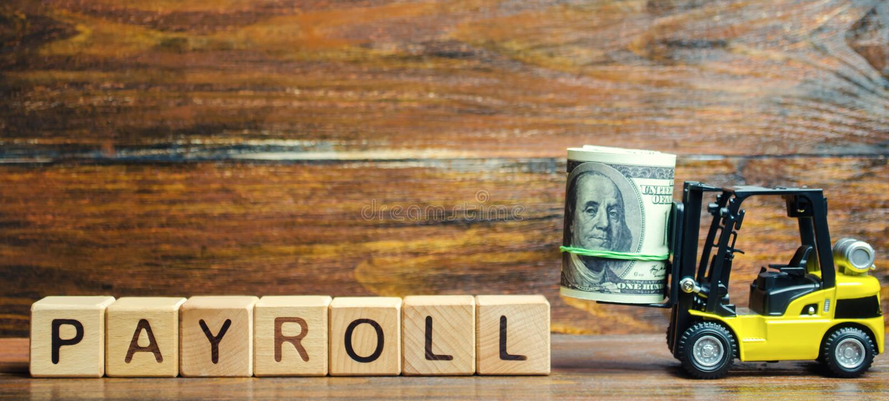 与词工资单、金钱和铲车的木块 工资单是事务必须支付到它所有报偿的总额  免版税库存图片